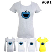 Cute Funny Blue COOKIE MONSTER Pattern Short Long Sleeves T Shirt Women s Girl s Graphic