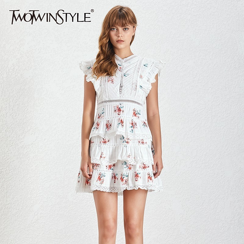 TWOTWINSTYLE Sweet Print White Lace Mini Dress TDR19534