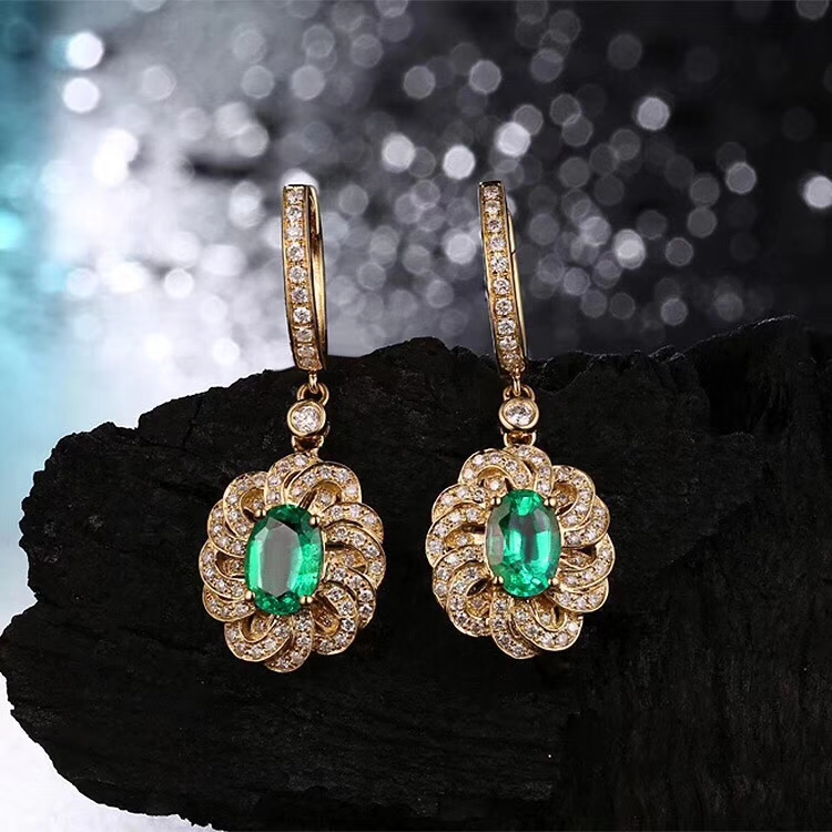 natural green emerald drop earrings 925 silver natural gemstone earrings women Elegant lovely round Sun flower woman party gift