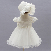 Brand Toddler Girls Princess Baptism Dresses With Hat Baby Girl 1 Year Birthday Party Clothes Lace Christening Ball Gown