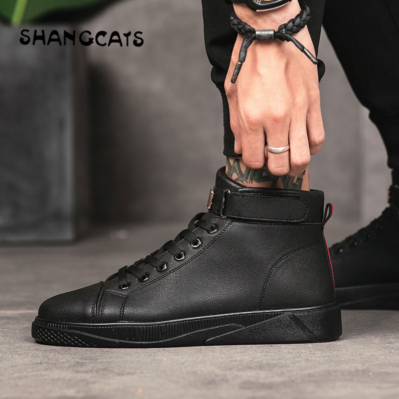 Trend 2018 Men's Vulcanized Shoes Black High Top Lace-up Autumn Winter Casual Canvas Shoes For Men Boys Sneakers Without Lace black lace up