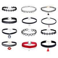 7-15 Pcs Chokers Set Black Lace Velvet Chokers Necklace For Women Fashion Harajuku Ribbons Necklaces Flower Women Jewelry BZ113