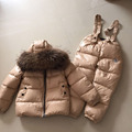 Fashion brand 90%  white  duck down jacket for girls boys snowsuit with super reccoon fur clothes sets as outwear free shipping