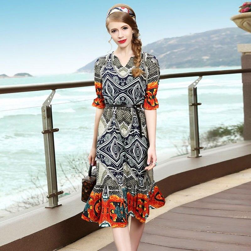 High Street Fashion European Woman Dress 2017 Summer Style Women Runway Dresses Ladies Elegant Short Sleeve Print Casual Dress