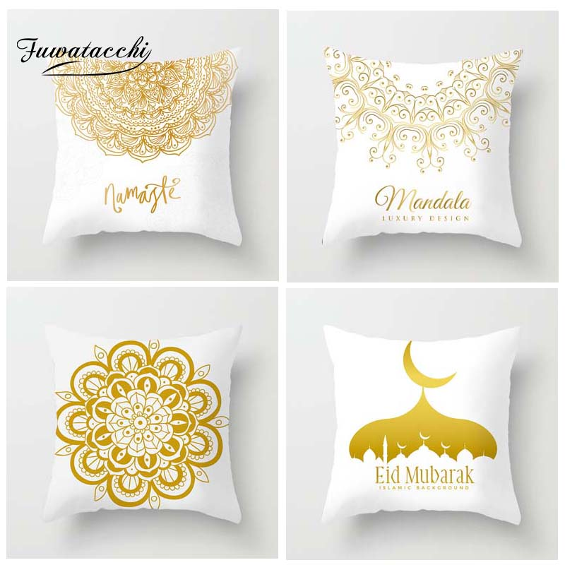 Fuwatacchi Floral Printed Cushion Cover Golden Mandala Arrow Moon Pillow Cover Lantern Decorative Pillowcase for Home Sofa in Cushion Cover from Home Garden