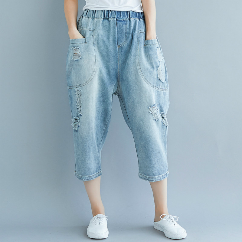 New style big size causal calf-length jeans pants, with hole & baggy pants& elastic waist leisure,yz0035