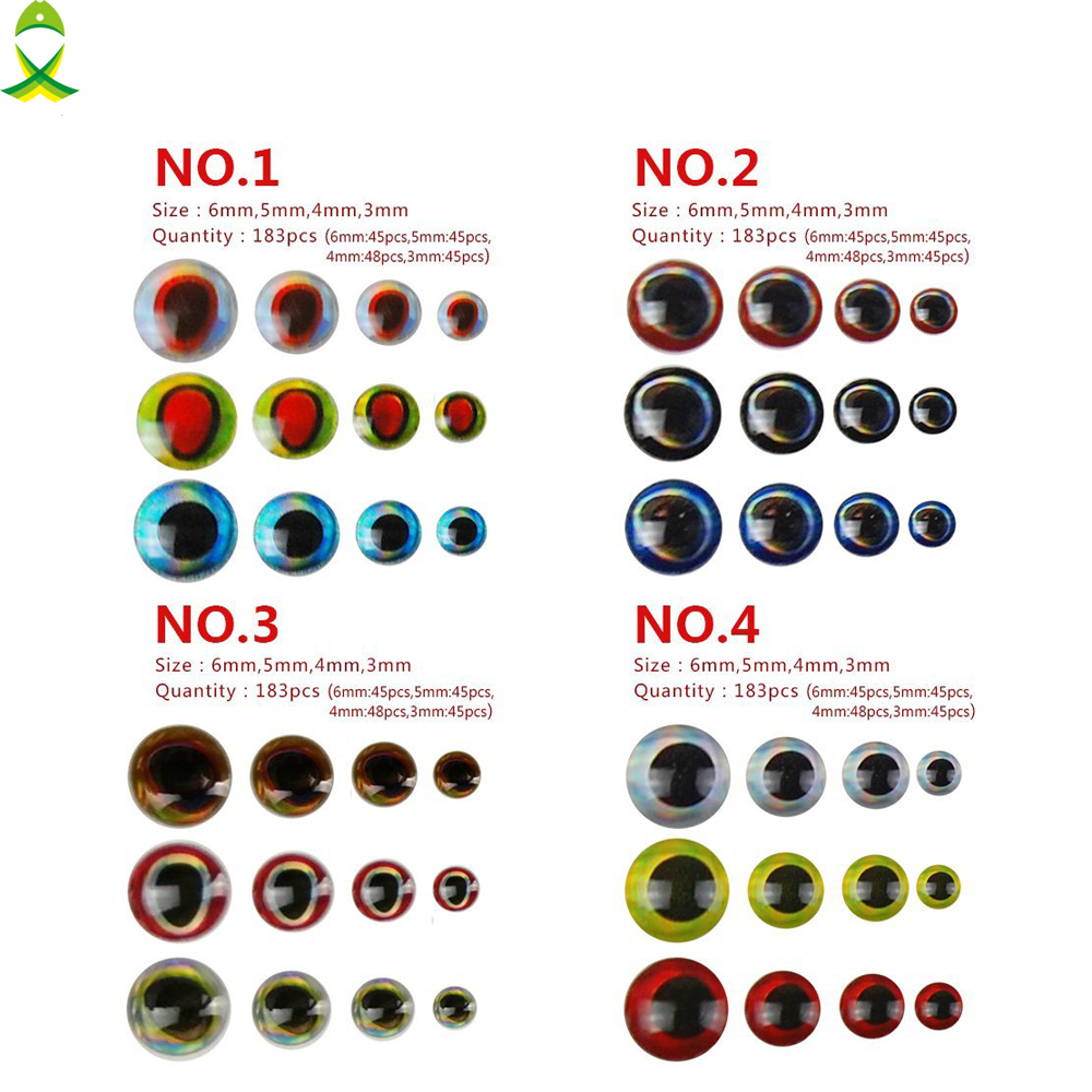 jsm 183pcs lot 3mm 4mm 5mm 6mm mixed sizes bionic 3d epoxy fishing eyes resin artificial lure 3d