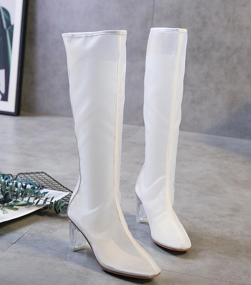 Transparent Kncokar 2018 Couleur Automne Boot Zipper Dames Avec Mode En Cristal Et blanc Printemps Pur Net Respirant Haute Style Sexy Noir Nouveau qBrPdwxqA