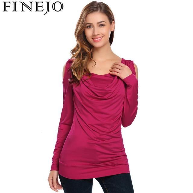 FINEJO T-Shirt Tops Women Shoulder Cowl Neck Cold Long Sleeve Solid Draped Slim Fit New Fashion Pullover Autumn Basic Tee