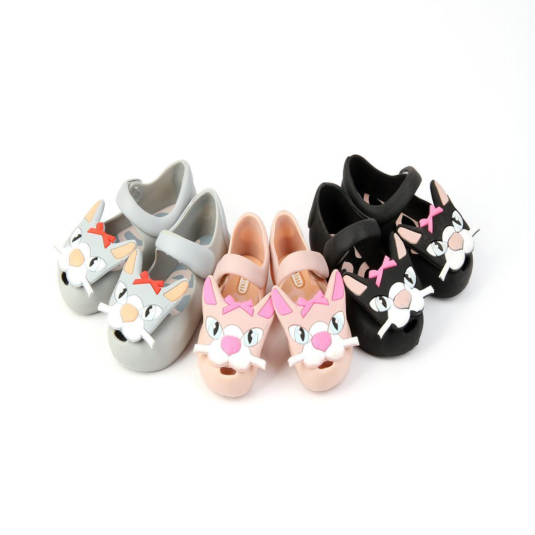 2018Mini Melissa New Summer Cat Sandals Big Face with Bow Classic Girls Low-Top Shoes Nonslip Kids Shoe Soft Leather PVC Sandal