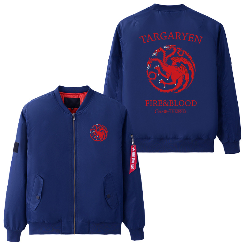 USA size Mens Jacket Game of Thrones House Targaryen Dragon Coat Zipper Winter Thicken Flight Jackets Flying Suit Outerwear