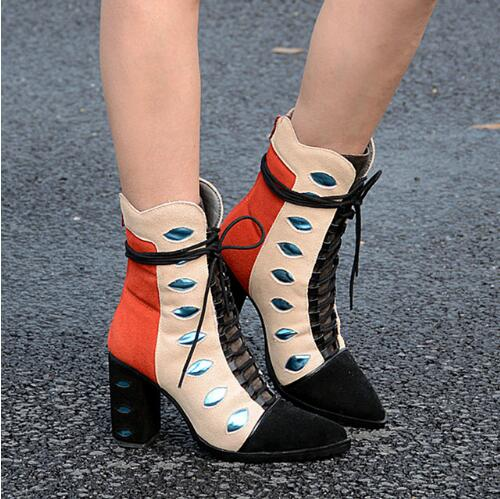 Fashion Mixed Color Suede Leather Women Short Motorcycle Boots Lace Up Sexy Thick High Heels Dress Shoes Woman Autumn New Boots ancient greek lace up leather suede knee high women boots round toe thick high heels fashion woman motorcycle boots shoes women