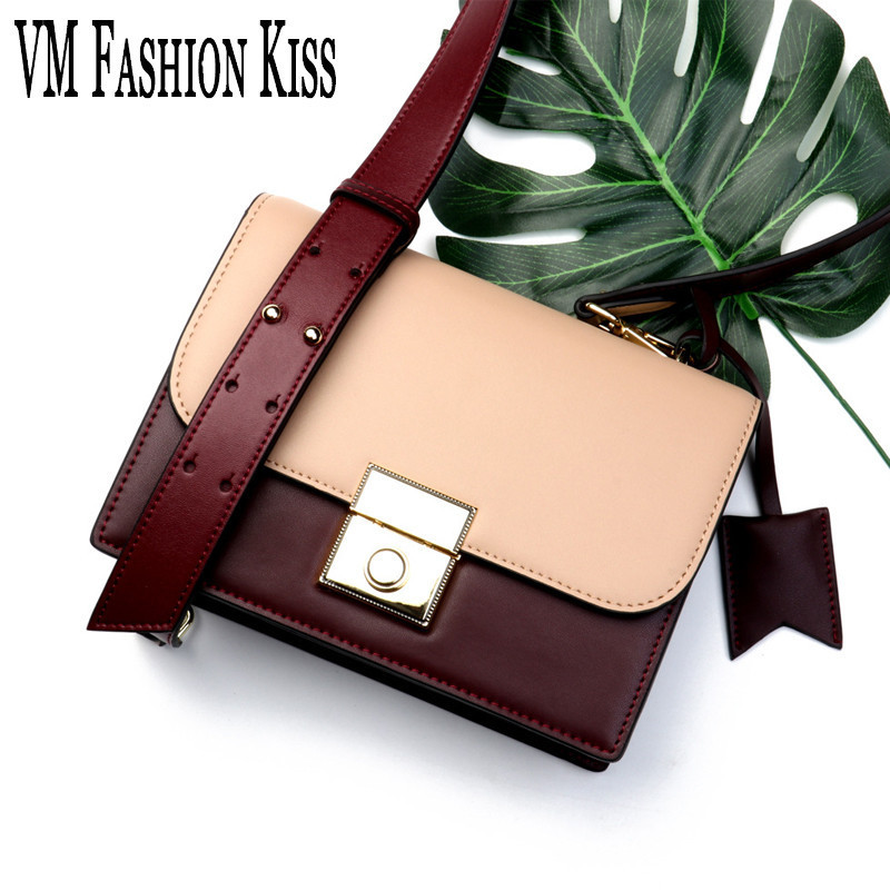 VM FASHION KISS 2018 Early Spring Series Women Flap Shoulder Bag Double Color Strap Cover Simple And Fashionable Crossbody Bag fashionable women s shoulder bag with candy color and engraving design