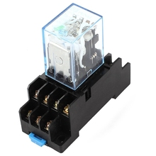 HH54P DC 12V Coil 4PDT 14 Pins Electromagnetic Power Relay DYF14A Base стоимость
