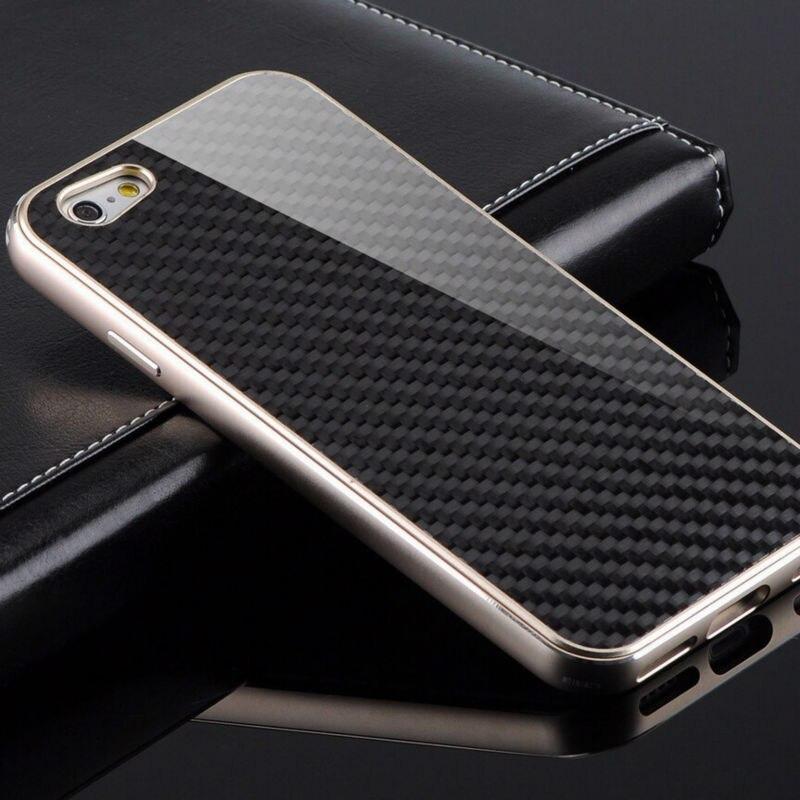 imágenes para Lujo Metal De Parachoques de Aluminio Para el iphone de Apple 6 6 s 4.7 iPhone 6 6 s Plus Original Real de Fibra de Carbono Cubierta Del Teléfono caso