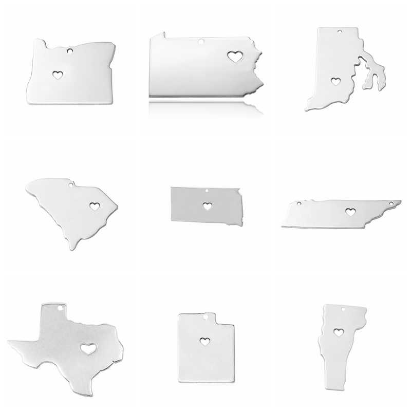 5 pcs/Lot US 50 states Map Charm Silver Stainless Steel Mirror Polish DIY Make Texas Nevada Wyoming New jersey USA Jewelry