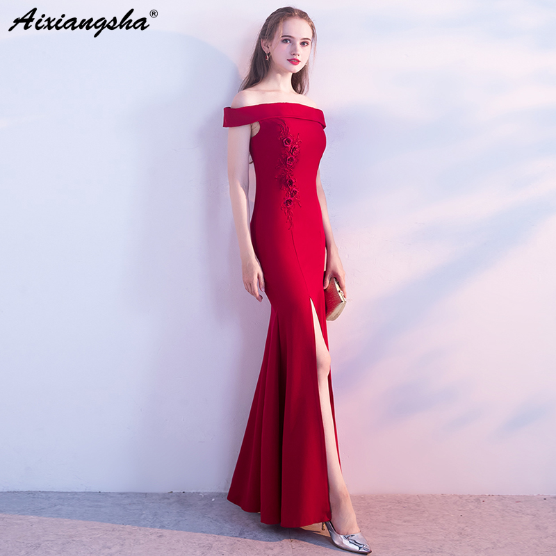 Wine Red Black Merimaid Long Evening Dress 2018 Plus Size Zipper High Slit Wedding Gowns Mariage vestido de noiva gelinlik boda