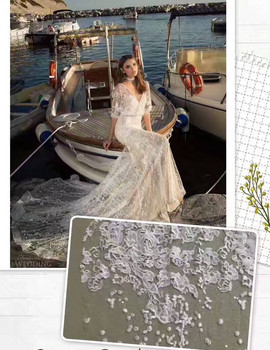 white stones 3D handmade flowers on net wedding dress/evening/show/stage dress lace fabric