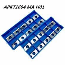 10PCS aluminum alloy blade APKT1604 MA H01 stainless steel car cermet lathe tool CNC machine