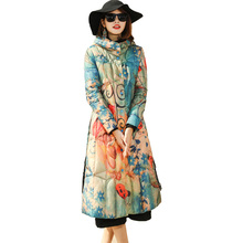 Hooded single breasted thick X-long slim a line print white duck down coats 2018 new women winter