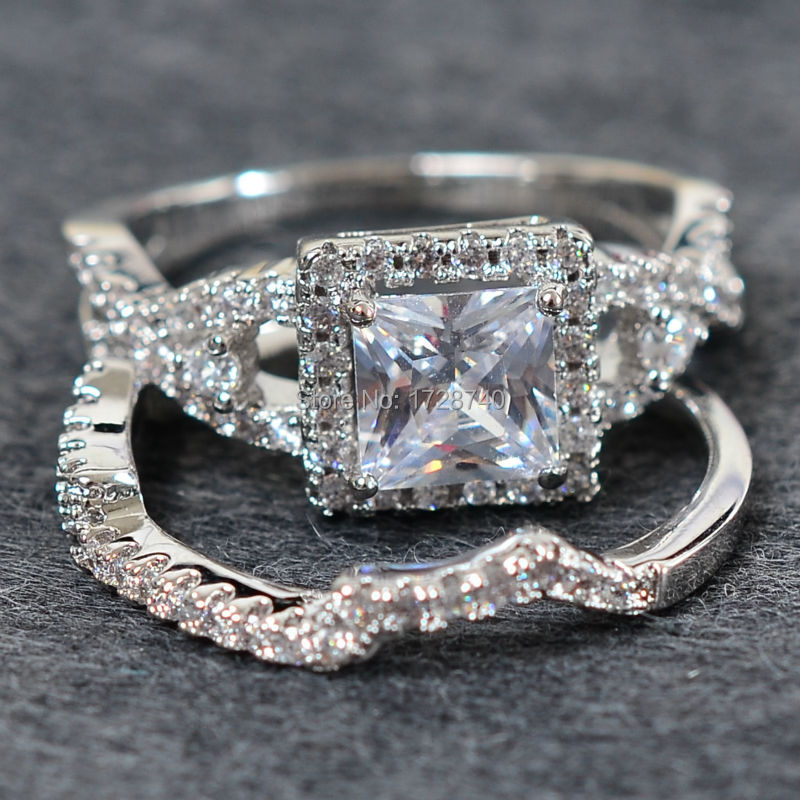 76203da5d6c Sz 5 10 Princess Cut White Gold Filled White CZ Women Wedding Ring Set  Bridal Wedding Engagement Ring Free Shipping-in Rings from Jewelry &  Accessories on ...