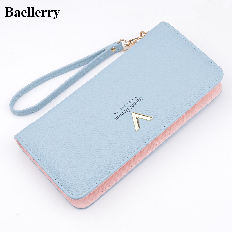 Brand Designer Leather Wallets Women Purses Zipper Long Coin Purses Money Bags  Card Holders Clutch Wristlet 8755294bb2ba9