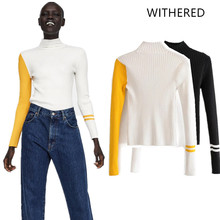 Withered 2018 BTS women sweater england style patchwork pollovers none  panelled fashion sweater women tops plus 9cd28de6f73f