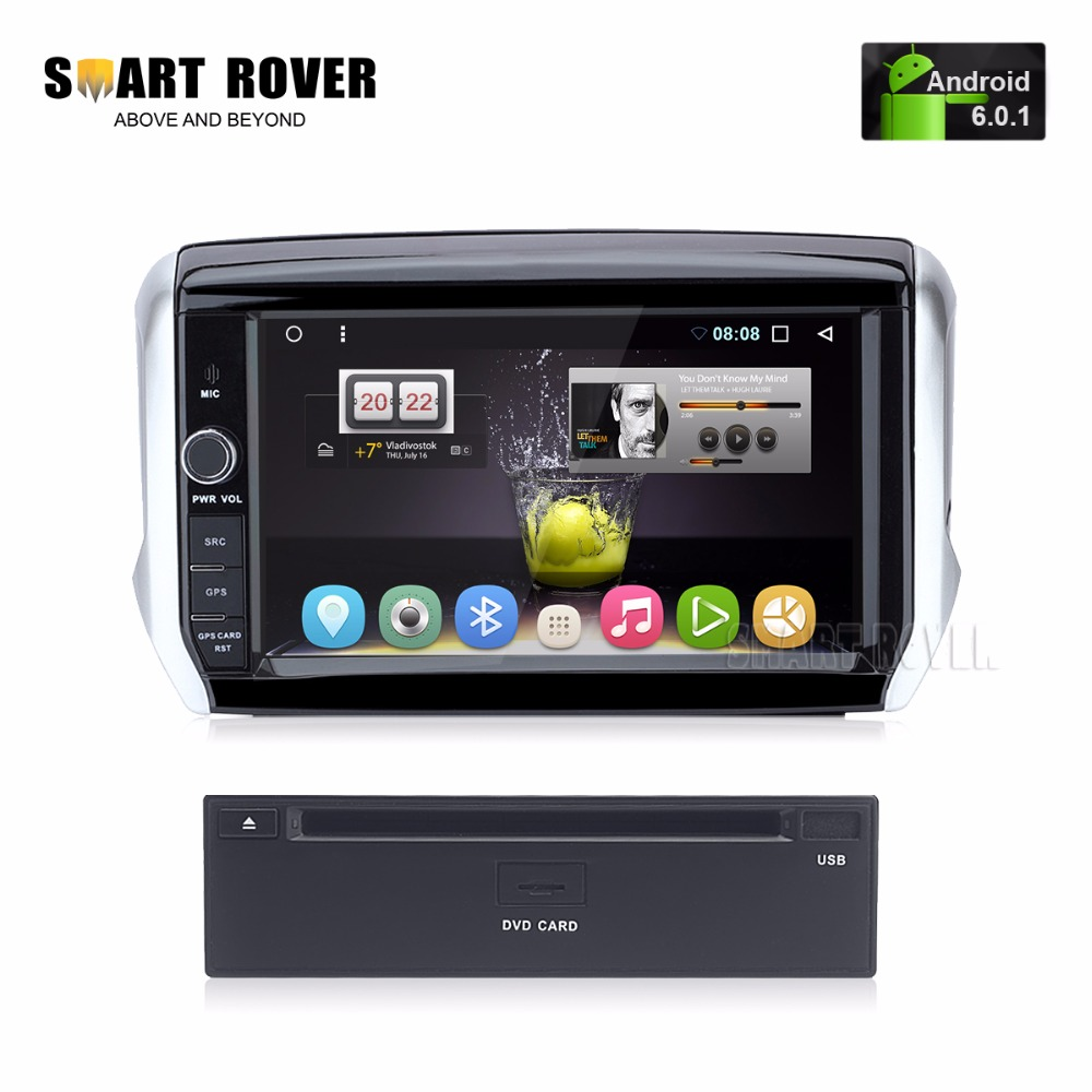 8 hd 1024x600 android 6 0 1 car dvd stereo for peugeot 208 2008 auto radio audio video gps. Black Bedroom Furniture Sets. Home Design Ideas