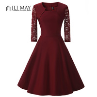 JLI MAY Women Black Dress Lace Half Sleeve Midi O Neck Fit Flare Black Autumn Office