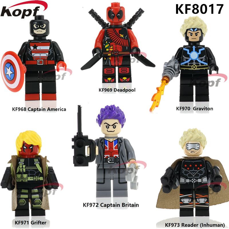 KF8017 Single Sale Super Heroes Captain America Graviton Grifter Deadpool Bricks Building Blocks Action Gift Toys For Children single sale super heroes red yellow deadpool duck the bride terminator indiana jones building blocks children gift toys kf928