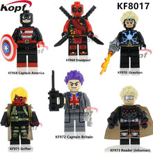 KF8017 Egyszeri eladó szuperhősök Kapitány Amerika Graviton Grifter Deadpool Tégla Építőelemek Akció Ajándék Játékok Gyerekeknek