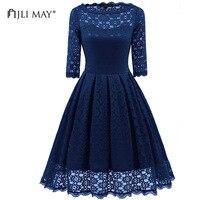 JLI MAY Round neck lace dress women solid slim midi half sleeve black blue office lady christmas wedding party vintage dresses