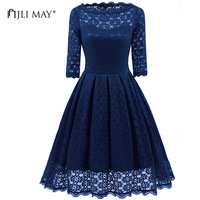 JLI MAY Round neck lace dress women solid slim midi half sleeve black blue office lady christmas wedding party vintage dresses