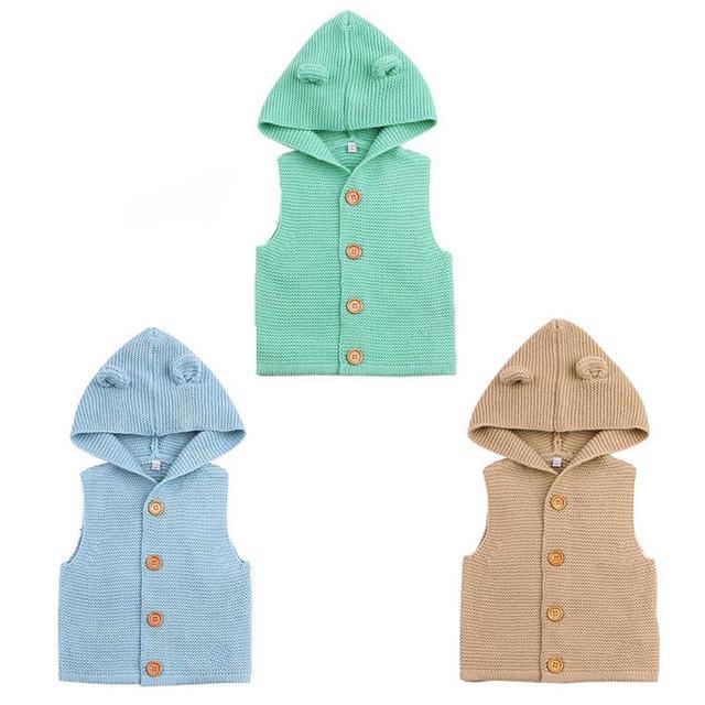 Bebé niños tejer chaleco moda niños ganchillo Suéteres lindo oídos ...