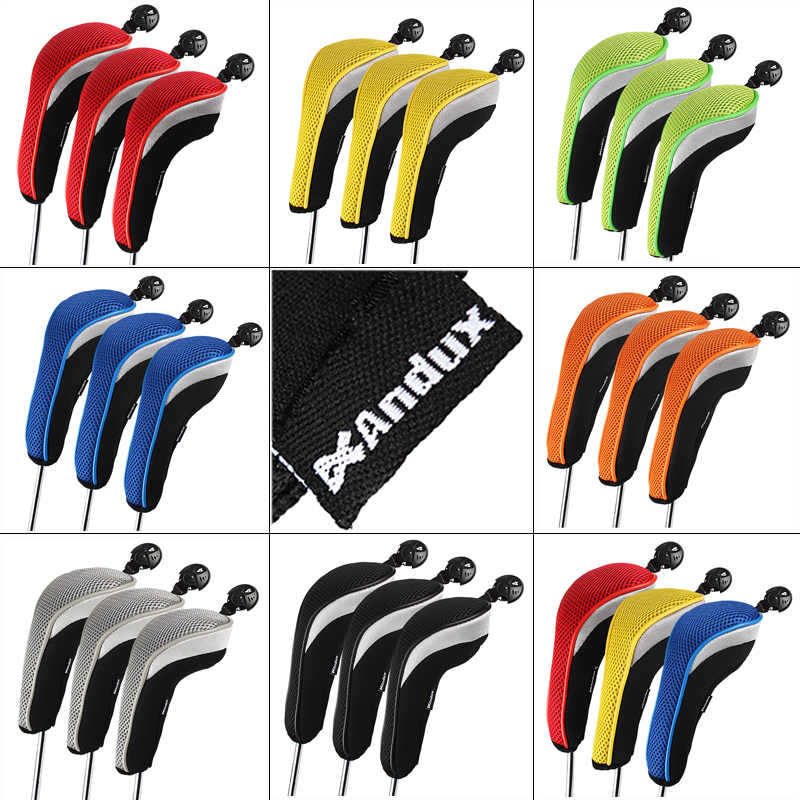 3pcs/set Andux Golf Club Head Cover Interchangeable No. HeadCovers Protect Set Golf Accessories