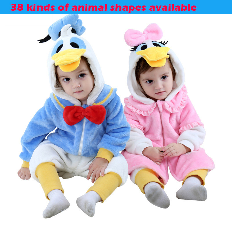 32 Styles Available 2019 New Flannel Skin friendly Soft and Lovely Animal Baby Romper Dinosaur Unicorn Baby Clothes Baby Onesie in Rompers from Mother Kids