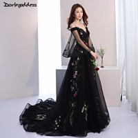 2018 Long Sleeves Beach Wedding Dress Spaghetti Straps Embroidery Black Gothic Wedding Dresses Lace Up Photography Dress