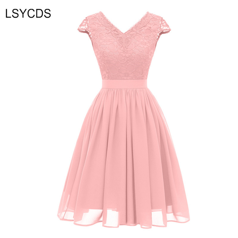 520ec554c1e1b LSYCDS Luxury Retro Women Dress 50s 60s V Neck Short Sleeve Knee Length  Slim Lace Dress Casual Party Women Vintage Dresses