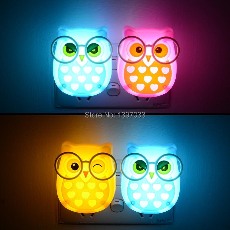 Image 5 - ミニフクロウ赤ちゃんの夜の光自動センサーライト制御ランプ eu 米国のプラグイン子供ルーム led ランプ動物ソケット  veilleuse    グループ上の ライト