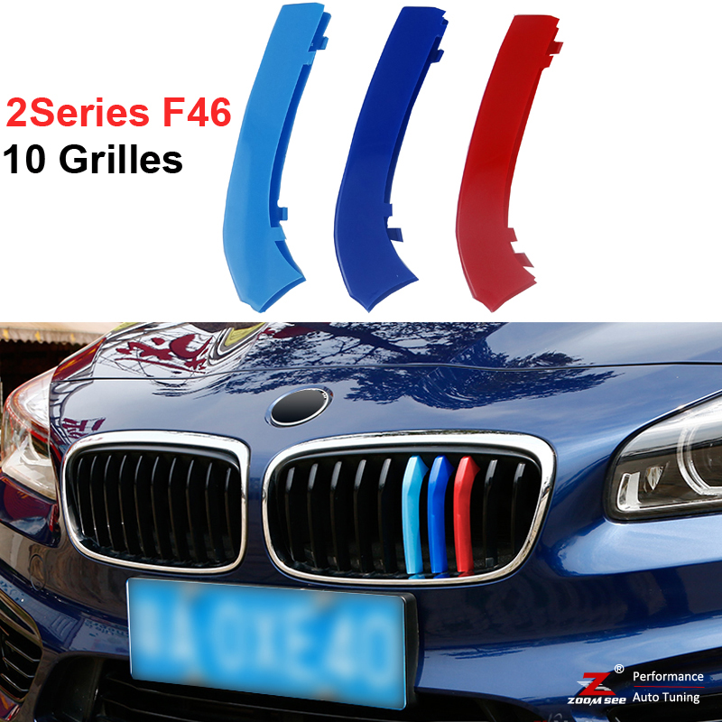 3 colors 3D styling M Front Grille Trim Strips Grill Cover Stickers for BMW 2 Series Active Tourer F46 218i 220i 10 Grilles front grille led emblem logo light 4 colors abs decorative grill lamp for f ord r anger t7 2016 2017 car styling