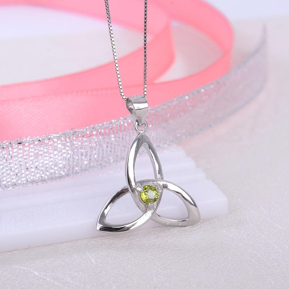 Péridot naturel 925 en argent Sterling pendentif noeud irlandais collier pour les femmes bijoux de pierre de naissance - 2