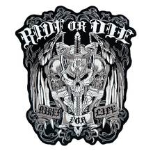 RIDE OR DIE LARGE Patch Embroidered Applique Sewing Label punk biker Patches Clothes Stickers Apparel Accessories Badge