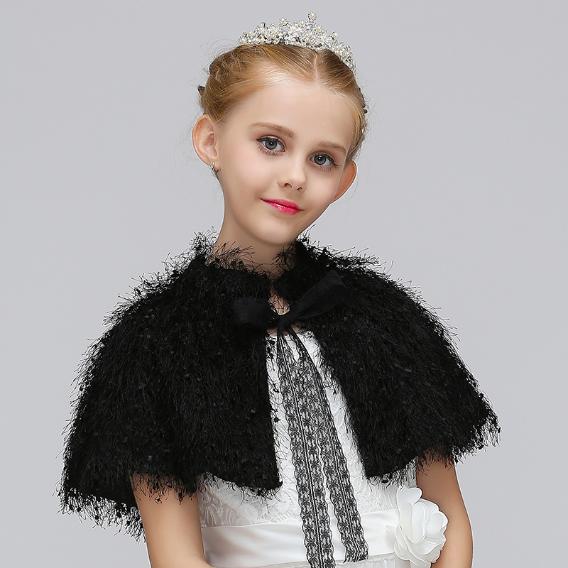 Retail Pretty Lovely Kids Cloak Spring & Autumn Cape For Dress Decorate With Lace Belt Faux Fur Girls Coat PJ006