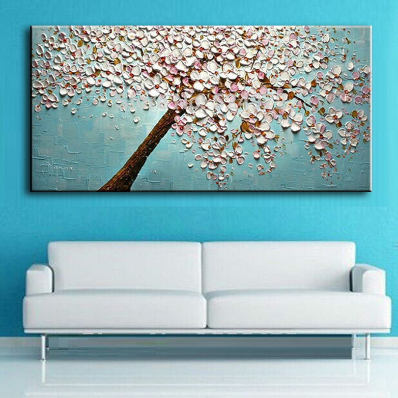 New Handmade Modern Canvas On Oil Painting Palette Knife Tree 3d Flowers Paintings Home Living Room Decor Wall Art 168032 Wall Art Flower Paintingcanvas Modern Aliexpress