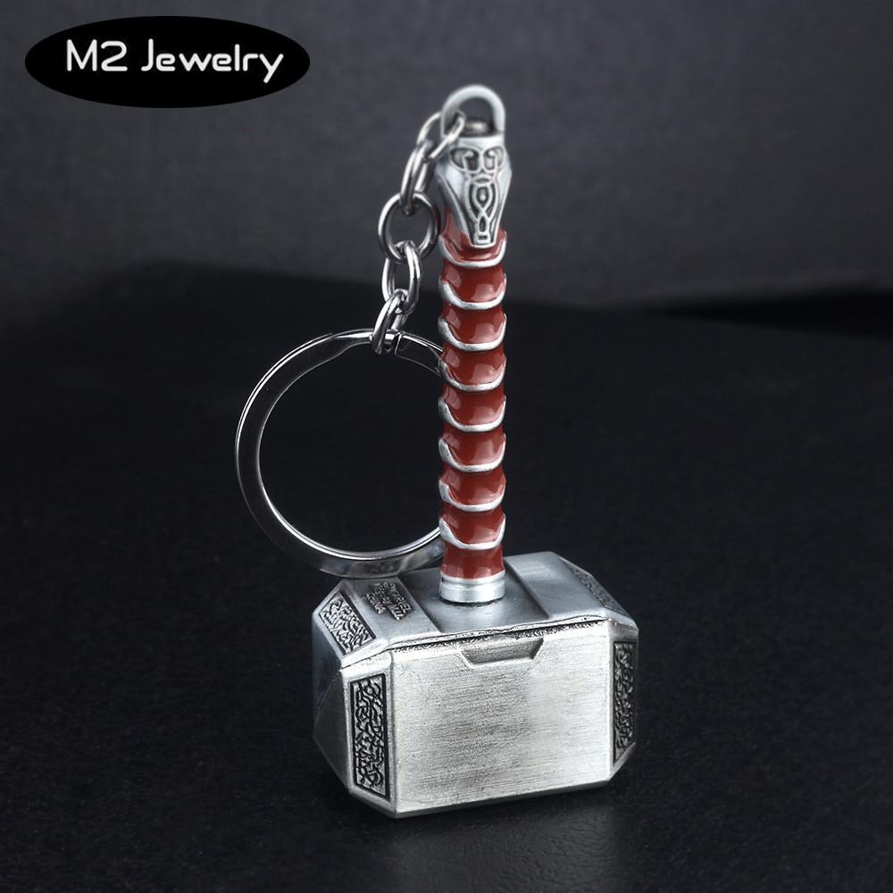 Avengers Keychain Anime Thor Hammer Mjolnir Weapon Iron Man  Mask Metal Keyring Key Chain Car Men Women Bag Jewelry Accessories