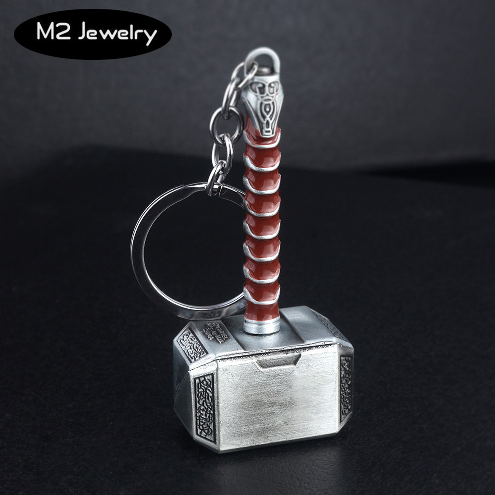 Movie Thor Hammer Weapon Keychain Avengers Alliance The Dark World Metal Key Chain For Keys Men Car Women Bag Accessories