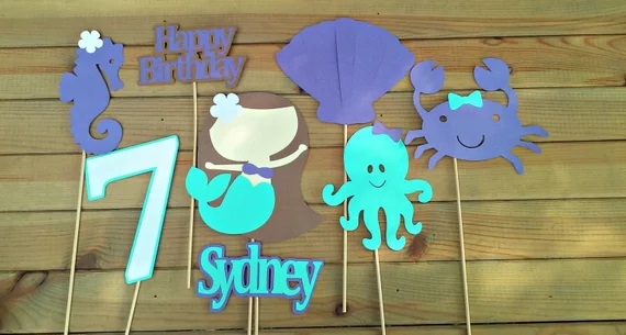 Mermaid Birthday Centerpiece Under The Sea Party Table Decoration Girls Decor
