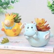 Hot Cute Cartoon Animal Flowerpot Resin Succulent Plant Vase Storage Ornament Home Craft Bonsai Flower Pot Garden Supplies