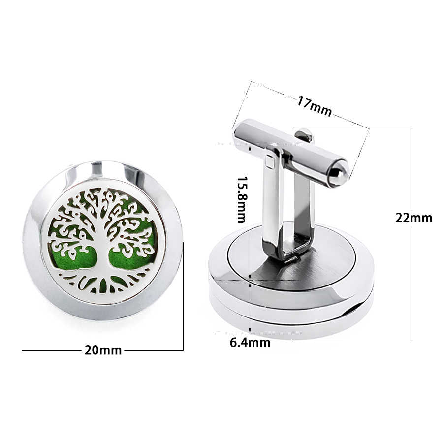 1pair 20mm Cufflinks Diffuer Locket Cuff Link Tree of Life Love Paw Stainless Steel Aroma Essential Oil Cuff Button 20pcs Pads