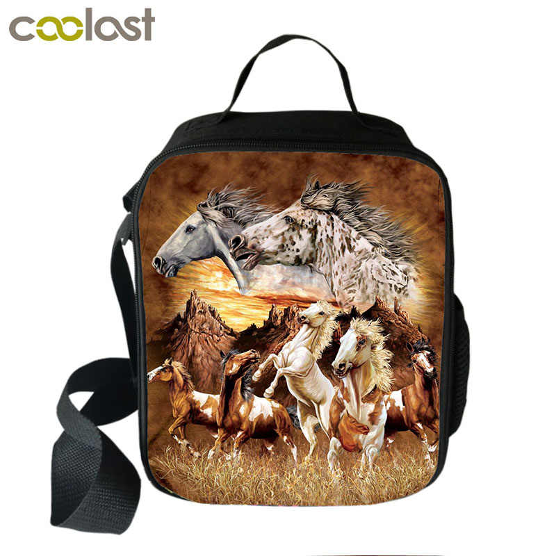 Unique Horse Print Pattern Portable Lunch Bag Thermal Insulated Canvas Lunch Box Tote Bag Cooler Food Picnic Bags